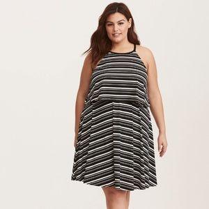 Torrid | Striped Black & White Sleeveless Dress